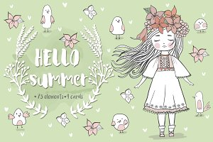 Hello summer! Cute clipart