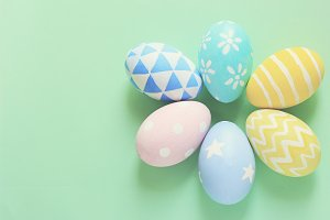 Pastel and colorful easter eggs