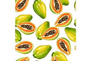 Seamless pettern with papaya isolated on white background. Illustration of tropical plant