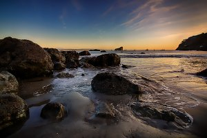 Rocky Beach Landscape at Sunset