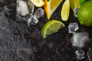 Lime, lemon, mint and crushed ice