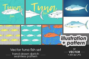 Tuna fish illustration, pattern set