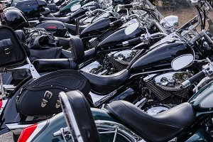 Motorcycles in black
