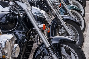 Motorcicles in a row