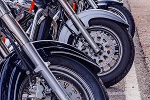 Motorcycles parked
