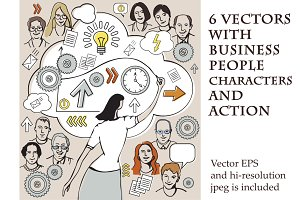 6 vectors with business people