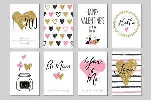 Valentine Day gold greeting cards