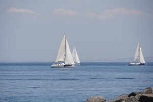 Luxury yachts in Mediterranean sea - Sailing regatta near sorrento, Italy