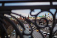 The Moscow Kremlin through the lattice