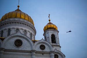 Temple of Christ the Savior in Moscow and a helicopter