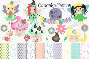 Cupcake House & Fairy Clip Art Set