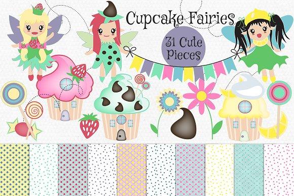 Cupcake House & Fairy Clip Art Set