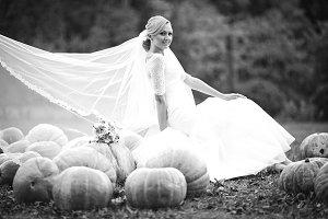 Elegant  bride rest on the pumpkin
