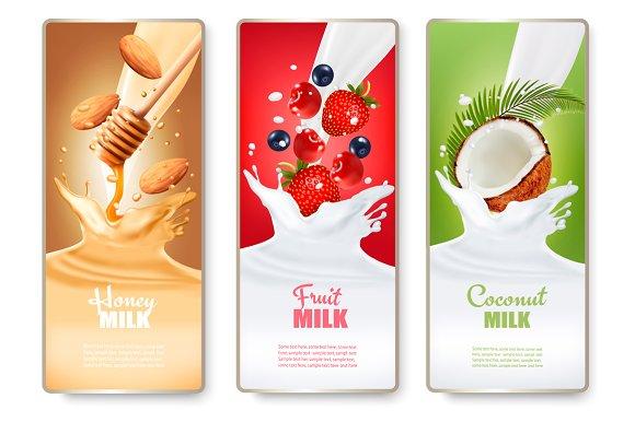 Labels of of fruit in milk splashes