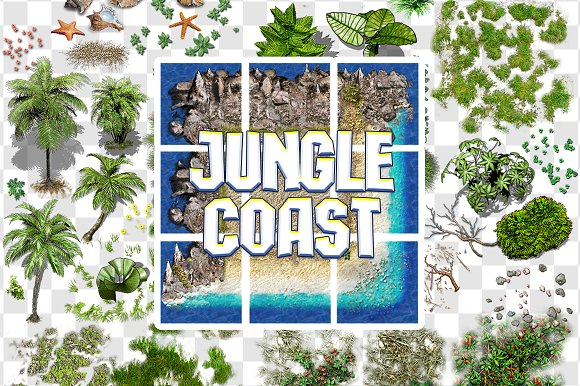 2D JUNGLE COAST TILE SET AND DECALS