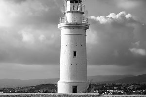 Old Lighthouse in monochrome. Kato Pafos, Cyprus.
