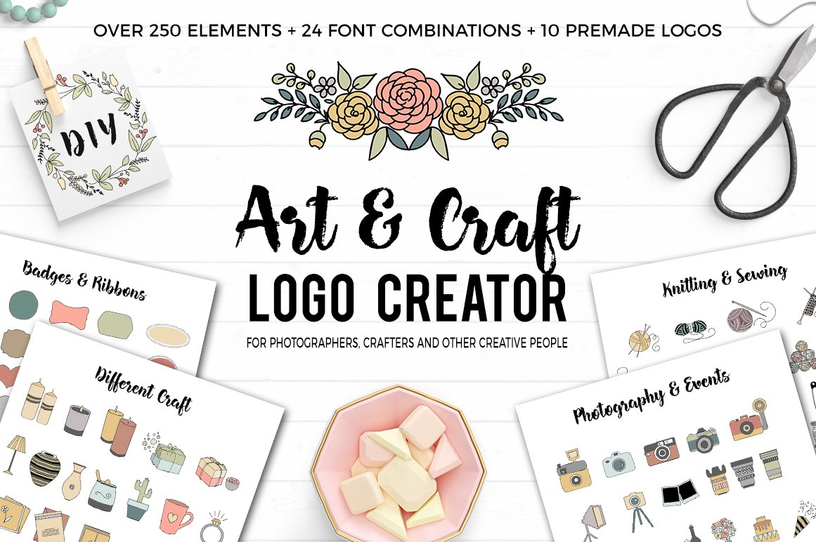 Art and craft logo creator logo templates creative market for Arts and crafts logo