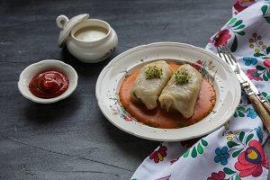Dolmasi - Stuffed cabbage leaves. Cabbage dolma,popular all year round in Azerbaijan