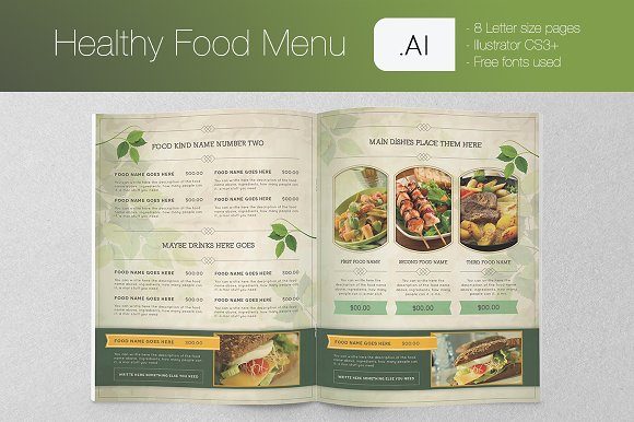 healthy food menu brochure templates creative market