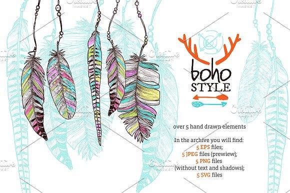 Boho Feathers Set - Illustrations