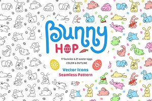 Bunny Hop Icons And Seamless Pattern