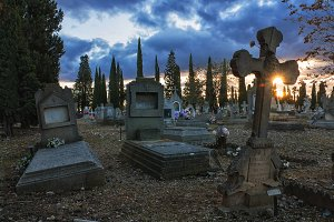 sunset at cemetery