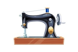 Vintage sewing machine with blue spool