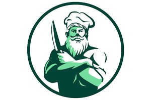 Bearded Chef Arms Crossed Knife