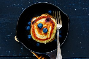 Blueberries homemade pancakes