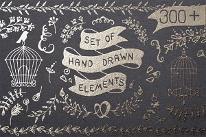 300+ Set of Hand drawn elements