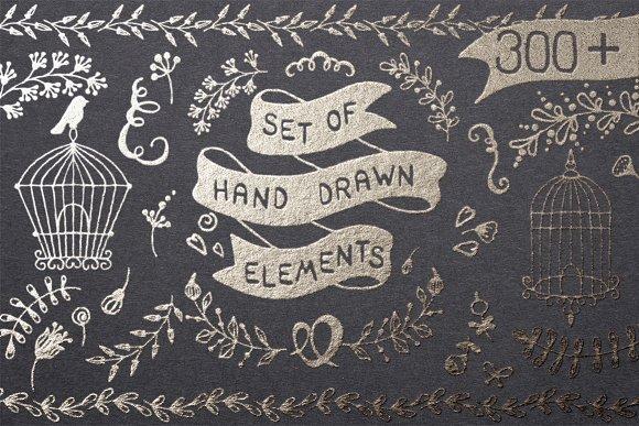 300 Set Of Hand Drawn Elements