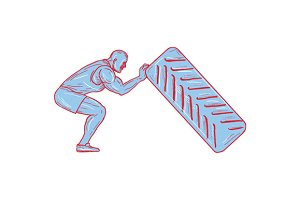 Fitness Athlete Pushing Back Tire