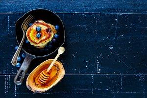 Blueberries homemade pancakes