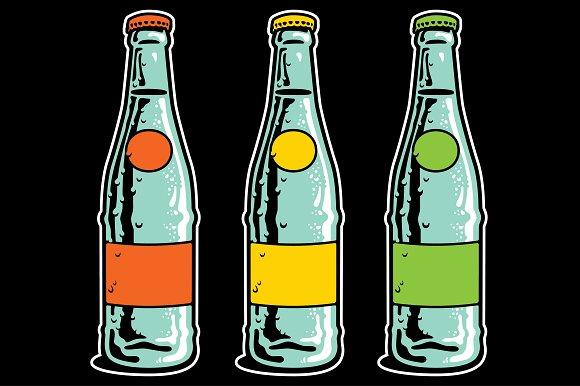 Vintage Soda Pop Bottle & Cap in Illustrations - product preview 1