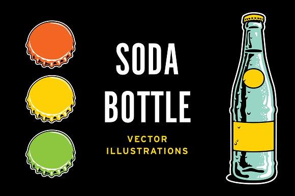 Vintage Soda Pop Bottle & Cap in Illustrations