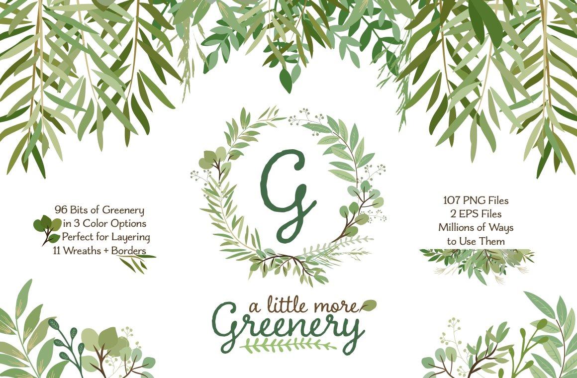 leafy green botanical clip art illustrations creative
