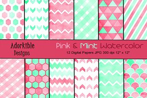 Pink & Mint Watercolor Digital Paper