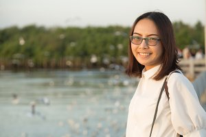 Asian woman wearing glasses