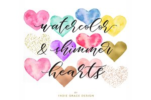 Watercolor, Foil & Confetti Hearts