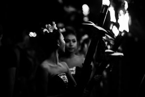 Balinese girls with torches