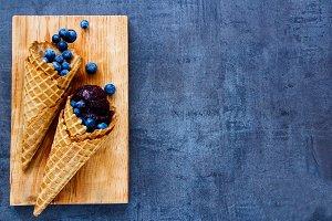 Sorbet in waffle cones