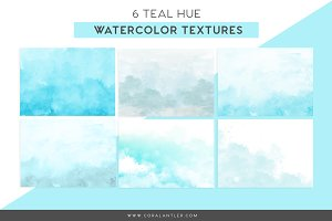 Teal Watercolor Textures