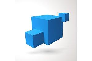 Three 3D cubes logo