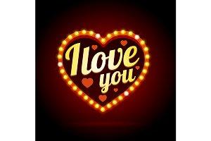 Light Bulbs Neon Glow Heart