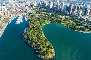 Aerial view on Sydney  Royal Botanic Gardens