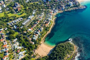 Aerial view on famous Shelly beach and Cabbage Tree bay