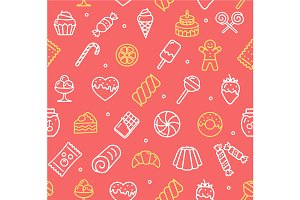 Sweets and Bakery Pattern Background