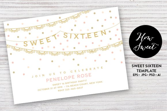 16th birthday for her retro neon invitation card templates by canva.