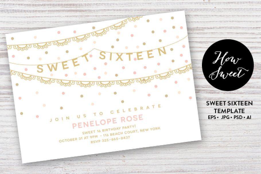 Sweet Sixteen Party Card EPS Invitation Templates Creative Market