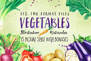 Vegetables Watercolor Illustration